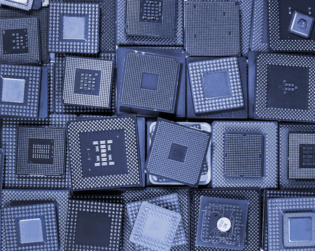 processors: Many old CPU chips and obsolete computer processors as background