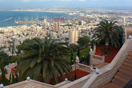 bahai: Downtown Haifa from Upper Terraces of Bahai Gardens, Israel