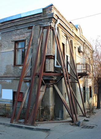 corner of house: Reinforced corner of old house, Tbilisi, Georgia