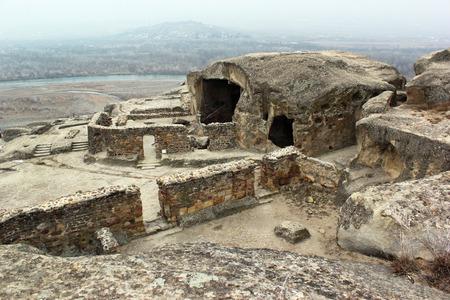 pagan: Ancient cave pagan city Uplistsihe, Georgia at wintertime