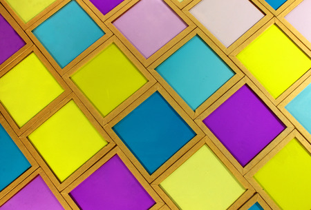 color photo: Old glass cyan magenta yellow color photo filters of different density