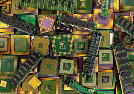 processors: Pile of old CPU chips, obsolete computer processors and memory modules