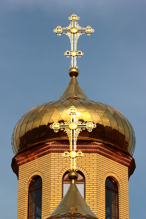 domes: Russian Orthodox church - crosses atop the golden domes Stock Photo