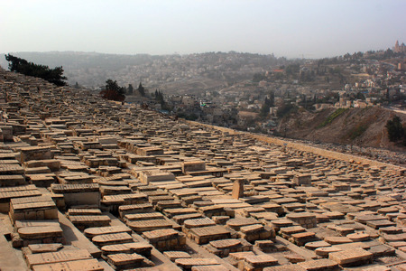 mount of olives: Largest Jewish cemetery in the world on slopes of Mount of Olives, Jerusalem, Israel Stock Photo