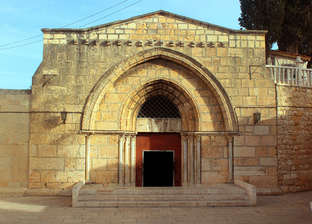 jewish houses: Entrance to Church of the Sepulchre of Saint Mary (Tomb of Virgin Mary) near the Mount of Olives, Jerusalem, Israel.