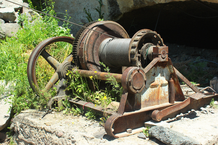 winch: Old rusty cable winch