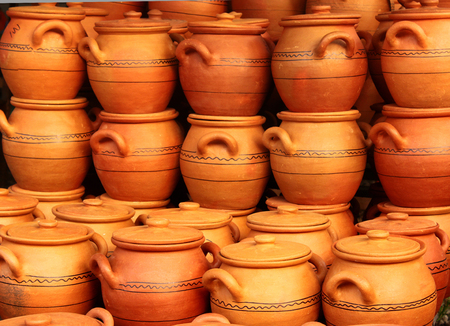 Traditional handmade pottery on display at street market in Tbilisi, Georgia