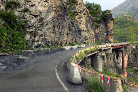 treacherous: Dangerous section of Georgian Military Road - the only open way between Russia and Georgia