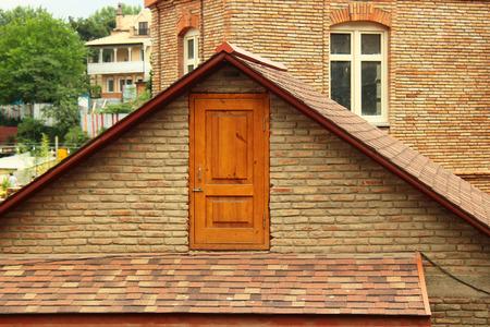 Door in the attic Stock Photo