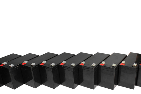 uninterrupted: Sealed lead acid batteries isolated on white background