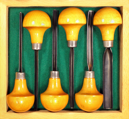 Set of six chisels for art wood carving and linoleum prints cutting