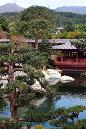 garden features: HONG KONG, MARCH 22, 2012:  Chinese Classical Nan Lian Garden, designed in the Tang Dynasty style with hills, water features, trees, rocks and wooden structures. Located in Diamond Hill, Kowloon, Hong Kong. Editorial
