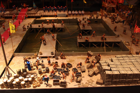 HONG KONG, MARCH 22, 2012: Model showing destruction of opium at Humen in 1839, event which provided casus belli for Great Britain to declare war on Qing China. Historical scene reproducted in Hong Kong Science Museum, Kowloon.