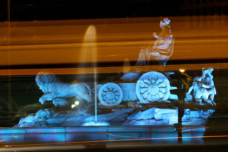 Cibeles fountain at Plaza de Cibeles at night, Madrid, Spain