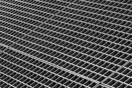 gratings: Iron gutter grates and metal vent grids as black and white industrial background Stock Photo
