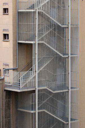 iron barred: External fire stairs on a building