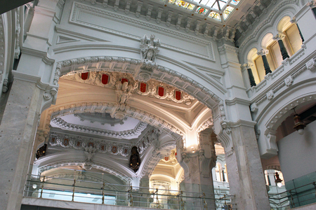 cibeles: MADRID, SPAIN - DECEMBER 14, 2016: Interior of Cybele Palace (Palacio de Cibeles), opened in 1919 as post office, now the City Council of Madrid. Editorial