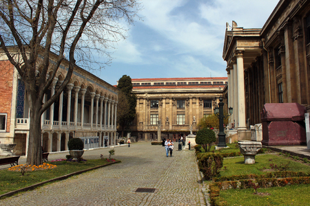 ISTANBUL, TURKEY - APRIL 8, 2012: Courtyard of Istanbul Archaeological Museum. It houses over a million objects that represent all eras and civilizations in world history. Editorial