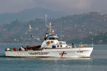 territorial: BATUMI, GEORGIA - JANUARY 1, 2014: Boat of the Georgian Coast Guard. It is responsible for the maritime protection of the entire coastline of Georgia and Georgian territorial waters.