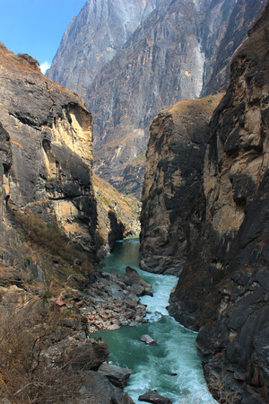 Yangtze river in the most narrow part of Tiger Leaping Gorge. Yunnan, Southern China