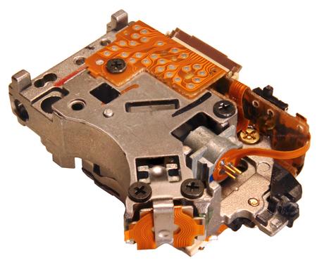dvd rom: Optical drive laser pickup unit closeup image, isolated on white background
