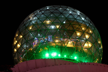 DALI, CHINA - MARCH 13, 2012: Glass sphere of skydeck at the hilltop of Cloud Crane Street (Yunhe Lu), allowing the best view on Erhai Lake at night. Editorial