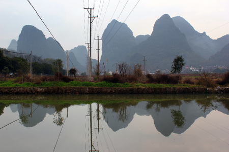 Karst landscape in a countryside near Yangshuo, Guangxi province, China.