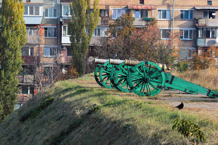 Old cannons in Kyiv fortress, a complex of Russian fortifications in Ukrainian capital built over the span of 17-19th centuries.