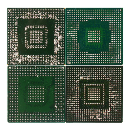 Ball Grid Array (BGA) chips badly desoldered and ruined. Consequences of unskilled repair - pins are fused and flooded with molten solder.