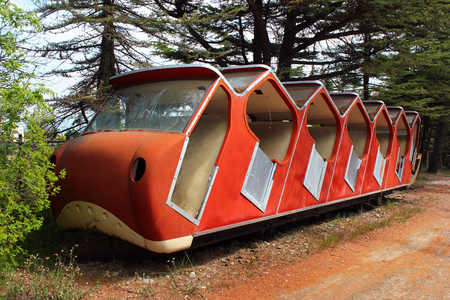 tramway: Old abandoned funicular vehicle in Tbilisi, Georgia