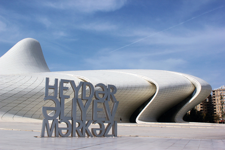 architect: BAKU, AZERBAIJAN - APRIL 28, 2017: Heydar Aliyev Center with auditorium, gallery hall and museum. The building was designed by world-famous architect Zaha Hadid. Editorial