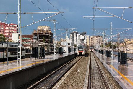renovated: BAKU, AZERBAIJAN - APRIL 24, 2017: Platform of Baku Central Railway Station, main hub of Azerbaijan Railways, opened after renovation in 2017.