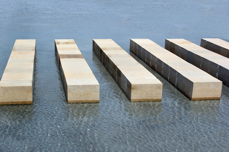 stepping: Stepping stones in water