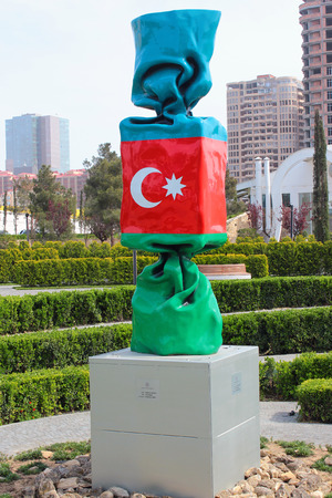 BAKU, AZERBAIJAN - APRIL 28, 2017: Azerbaijan by Laurence Jenkell, recognized  French artist and sculptor, 2013. Candy sweet colored as Azerbaijani flag is made of polyester.