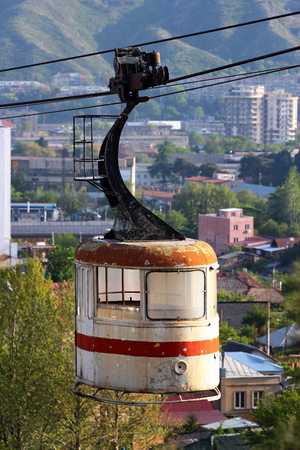 Old abandoned cable car cabin in Tbilisi, Georgia
