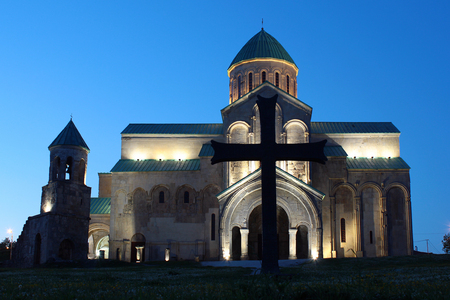 Renovated Bagrati Cathedral of the Dormition at night in Kutaisi, Georgia Stock Photo