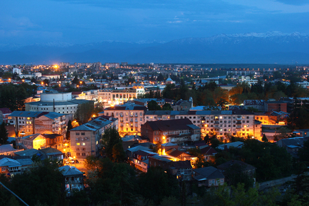 unesco: Panorama of Kutaisi, Georgia - view from the Bagrati Cathedral at night Stock Photo