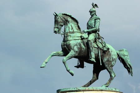 Bronze monument of Tsar Nicholas I on Saint Isaacs Square in Saint Petersburg, Russia. One of the few equestrian statues in the world with merely two support points. Editorial