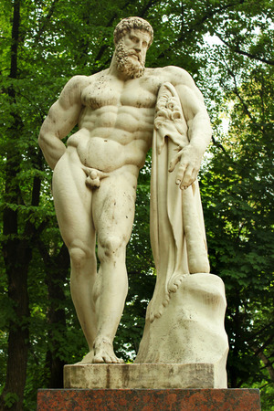 SAINT PETERSBURG, RUSSIA - JULY 5, 2017: Statue of Farnese Hercules in Alexander Gardens. Copy of antique sculpture by Paolo Triscorni, made in late 18th century.