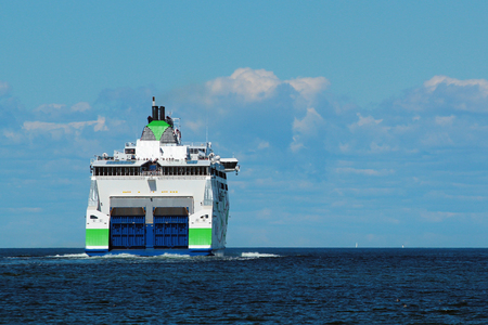 TALLINN, ESTONIA - JULY 7, 2017: MS Megastar, fast passenger ferry of Estonian shipping company Tallink, and the first ship in Tallinks fleet that uses liquefied natural gas (LNG) as fuel.
