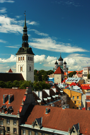 St. Nicholas church and Alexander Nevsky Cathedral in Tallinn Old Town, Estonia. One of the best preserved medieval cities in Europe