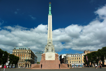RIGA, LATVIA - JULY 10, 2017: The Freedom Monument, memorial honouring soldiers killed during the Latvian War of Independence.