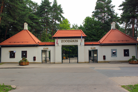 RIGA, LATVIA - JULY 10, 2017: Main entrance to Riga Zoo, located in Mezaparks neighbourhood. It was opened in 1912 and now houses around 4000 animals of  nearly 500 species.