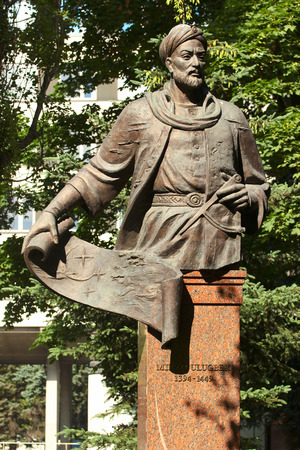RIGA, LATVIA - JULY 10, 2017: Statue of Ulugh Beg, medieval ruler of Central Asia, astronomer and mathematician. He built one of the finest observatories in the Islamic world at the time. Editorial