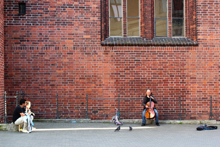 saint: RIGA, LATVIA - JULY 10, 2017: Man plays cello near the Riga Dome Cathedral of Saint Mary in old town of Riga, famous for its pipe organ and acoustics. Editorial