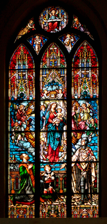 RIGA, LATVIA - JULY 11, 2017: Stained glass windows in Riga Dome Cathedral, depicting various historical and biblical scenes. Stock fotó - 84098780