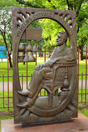 RIGA, LATVIA - JULY 11, 2017: Scuplture of Friedrich Wilhelm Ostwald, German chemist who got Nobel Prize in chemistry 1909. He is one of the founders of physical chemistry. Banco de Imagens - 84380832