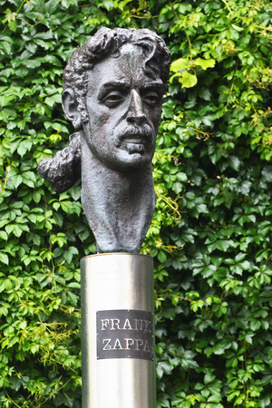 filmmaker: VILNIUS, LITHUANIA - JULY 13, 2017: Statue of Frank Zappa, an American musician, activist and filmmaker. He was famous for his nonconformity, free-form improvisation, sound experiments, musical virtuosity and satire of American culture.