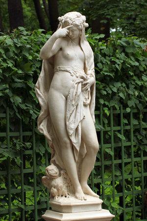 allegoric: SAINT PETERSBURG, RUSSIA - JULY 5, 2017: Allegorical sculpture Night by Giovanni Bonazza, 1717, adorning the alleys of Summer Garden royal park.