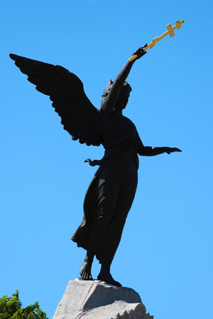 TALLINN, ESTONIA - JULY 7, 2017: Angel of the Russalka Memorial by Amandus Adamson, dedicated to sunk Russian warship